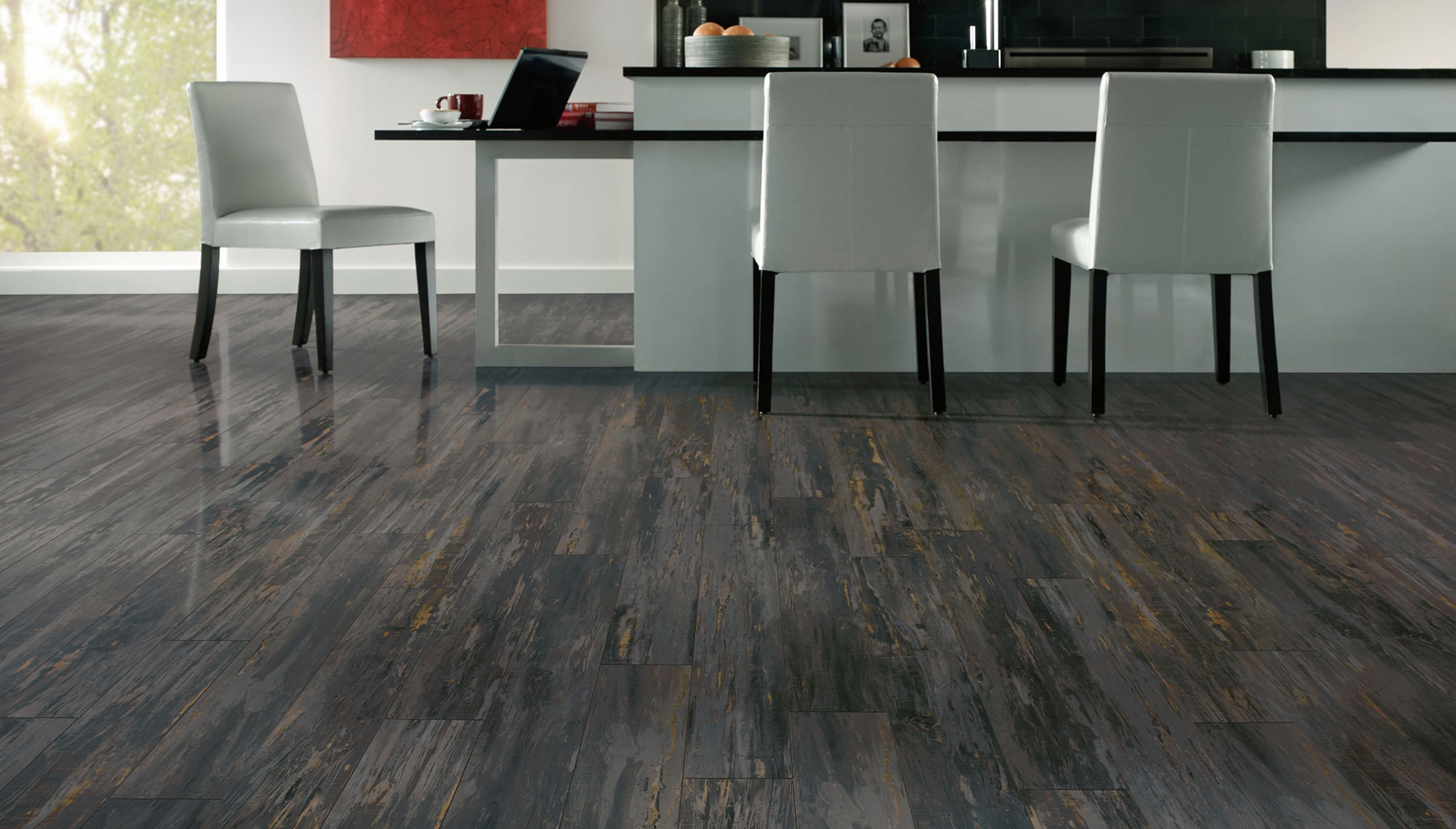 grey wood floors with luxury vinyl plank polished for kitchen and