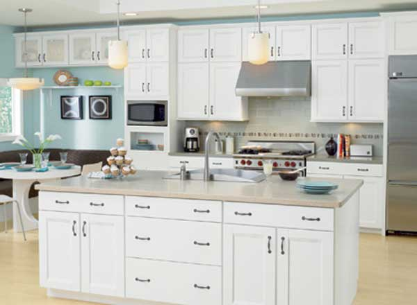 White cabinetry is still the color of choice for Kitchen designs with white cupboards