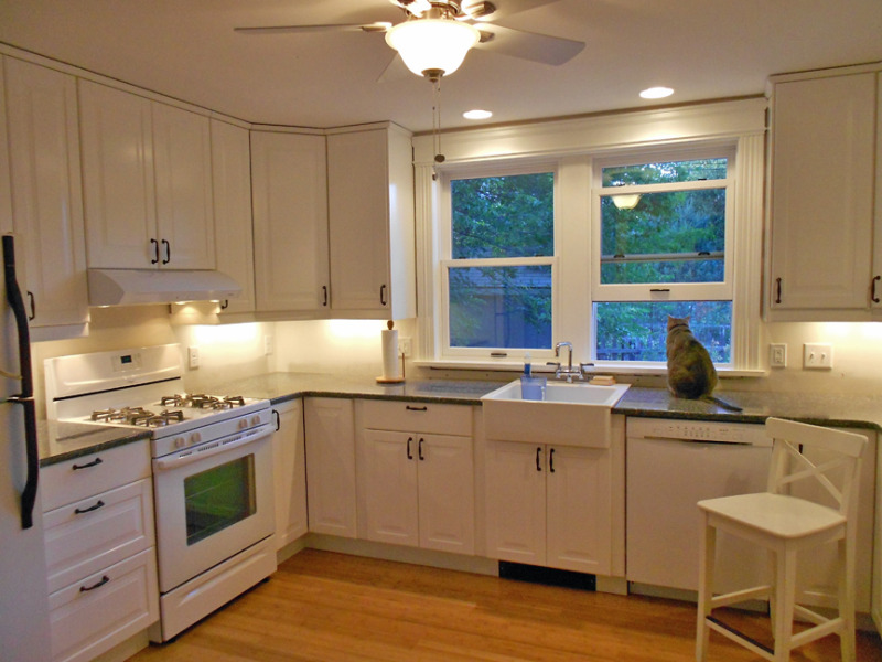 Monochromatic White Kitchen Set With Nice  Hampton Bay Corner Cabinet Plus Decorative Flush Mounted Ceiling Fan Decor